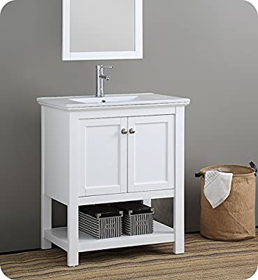 "Fresca Manchester 30"" White Traditional Bathroom Vanity"