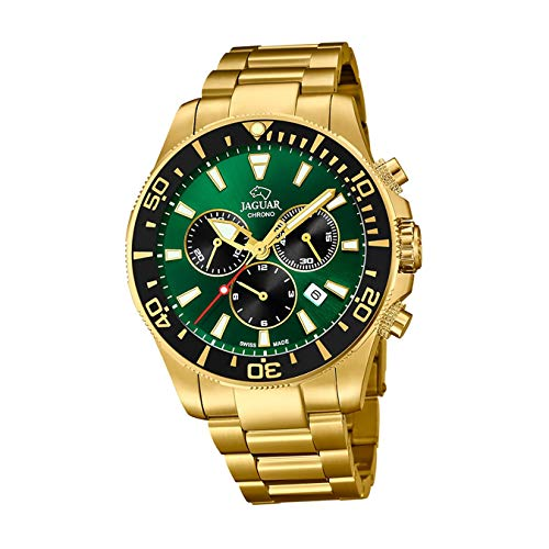 JAGUAR J864/1 Executive Collection Armbanduhr, 43,5 mm, grünes Gehäuse mit beschichtetem Stahlband