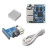 Orange Pi R1 Plus 1GB DDR4 Rockchip RK3328 Quad core Cortex-A53 Dual 1000M Ethernet Ports, Run Android 9, Ubuntu, Debian, OpenWRT (1GB SBC + TypeC Cable+Expansion Board + Al Heat Sink)