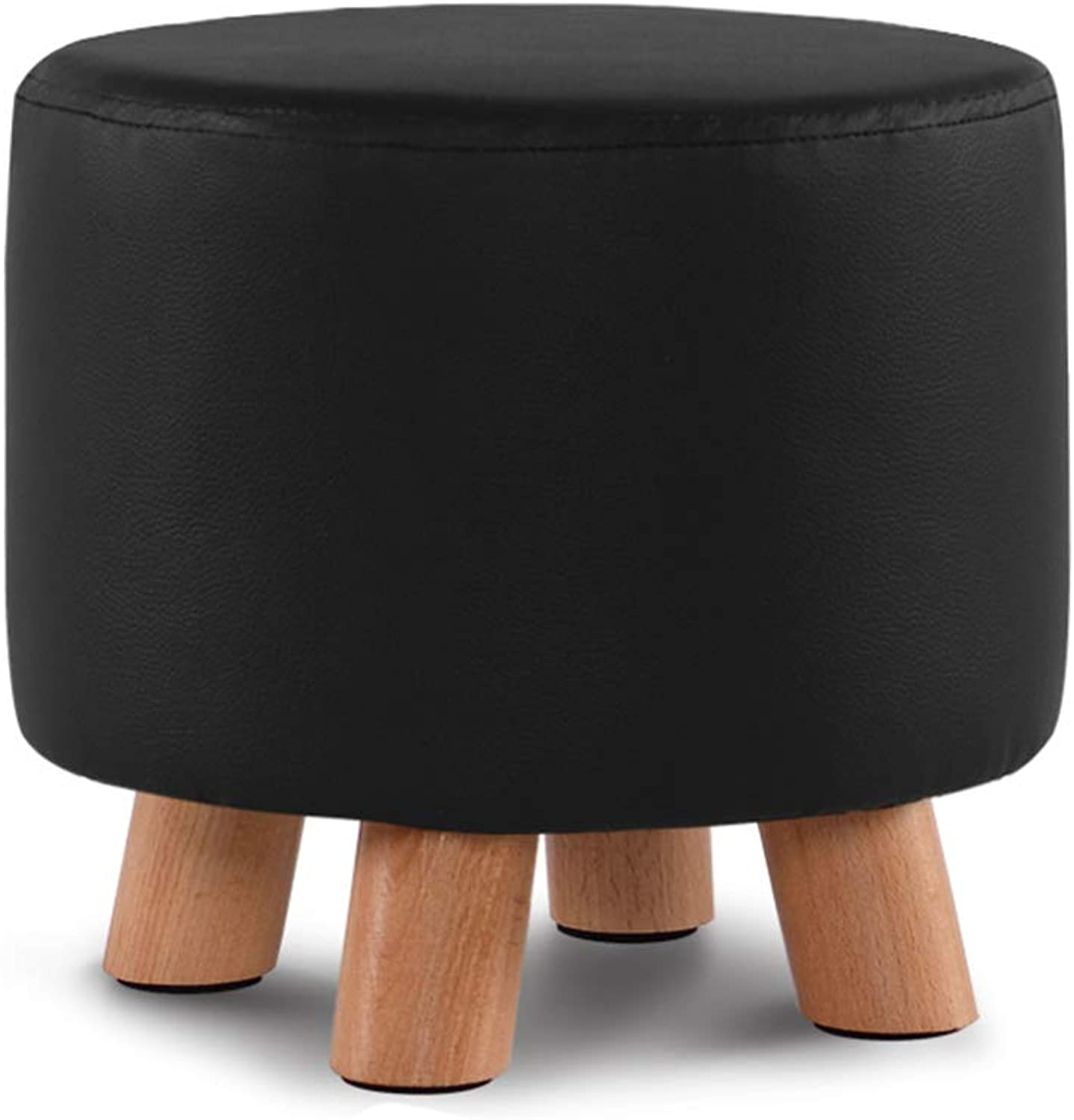 XSJJ Stool, Home Solid Wood Creative Round Fabric Sofa Coffee Table Home Hall Change shoes Low Stool 8 colors Optional Wooden Bench (color   Elm Black)