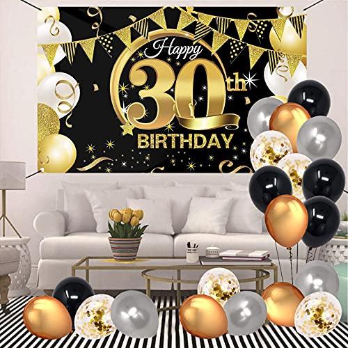 VEGCOO 30 Decorazione per Feste di Compleanno, Oro Nero Poster di Tessuto Sfondo Fotografico 180 * 120 cm con 20 Palloncini Compleanno - 30 Anni di Buon Compleanno Decorazione di Festa per Uomo Donna