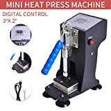 Vanell Mini Manual Heat Press Machine 350kg Max Down Force Hot Presser 3 X 2 Inch Heat Platen LCD controller 300W Shirt Heat Press Transfer Sublimation Press Machine