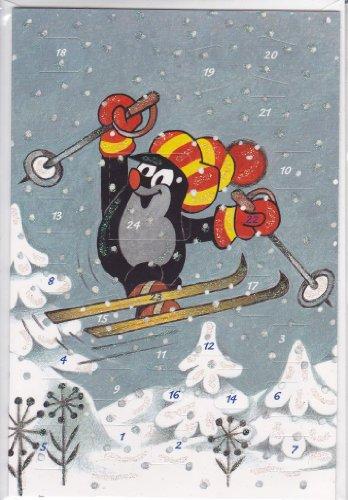 KORSCH VERLAG Adventkalenderkarte Kl. Maulwurf Skisprung