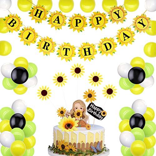 Sunflower Birthday Party Decorations,Sunflower Party Decorations Supplies Kit,Sunflower Happy Birthday Banner,Sunflowers Cupcake Toppers,Sunflower Theme Birthday Party Decorations Supplies (Yellow)