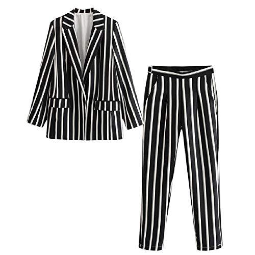 SKJJKT Damen Anzug Hosen Anzug Neue Frühling und Herbst Slim Schwarz Weiß gestreift Damen Jacke Casual Hosen Set von zwei Gr. X-Large, 1