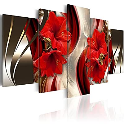 Everlands Canvas Wall Art Red Flower Print Painting Modern Contemporary Picture Home Decor Crimson Floral 5 Panels Stretched on Wooden Frame from Everlands Painting