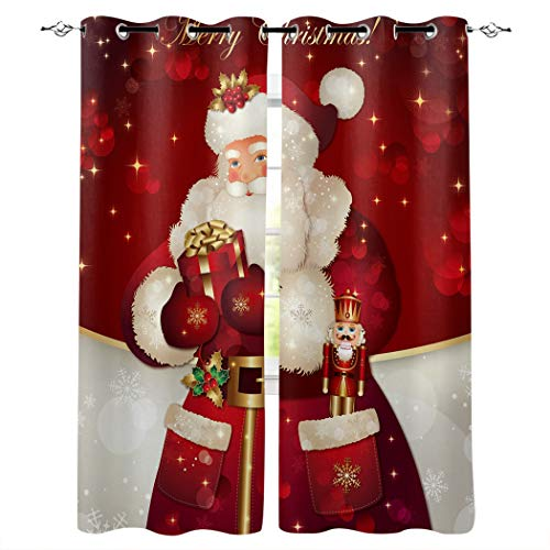 T&H Home Draperies & Curtains Set, Merry Christmas Dreamlike The Santa Claus Window Curtain, 2 Panels Curtain for Sliding Glass Door Patio Door Bedroom Living Room, 104' W by 63' L