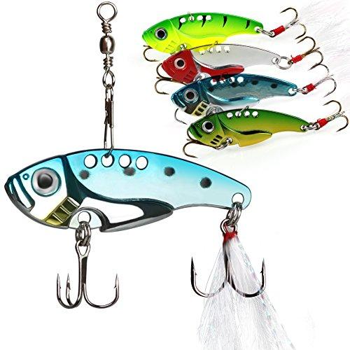 Sougayilang Spinner Spoon Blade Swimbait Freshwater Saltwater Fishing Tackle Lures and Baits--4pcs