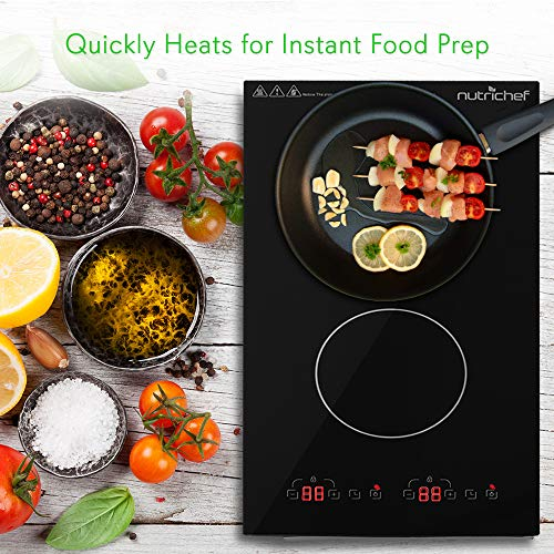 Product Image 5: NutriChef – Dual 120V Electric Induction Cooker – 1800w Digital Ceramic Countertop Double Burner Cooktop – Black