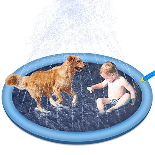 RIOGOO Tampone per irrigatore per Cani, Bambini, 59 Pollici, materassino per Giochi d'Acqua, Vasca per Cani, Piscina all'aperto per Neonati, Bambini Piccoli e Animali Domestici