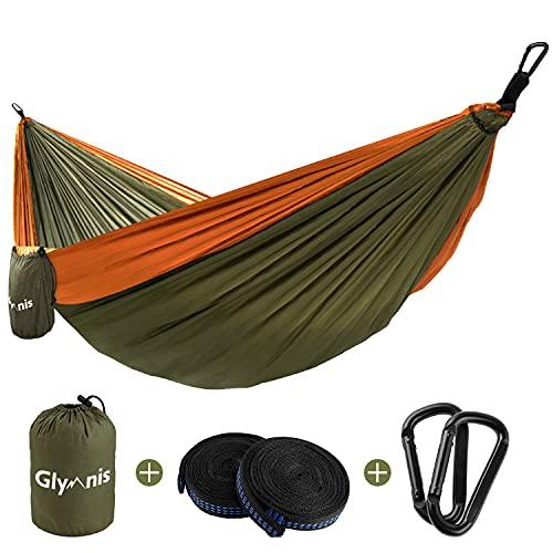 Glymnis Amaca da Giardino Amaca da Campeggio Capacità di Carico 300kg con Kit di Fissaggio Tessuto 210T 300x200 cm per Campeggio Giardino Escursioni Verde Militare-Arancione