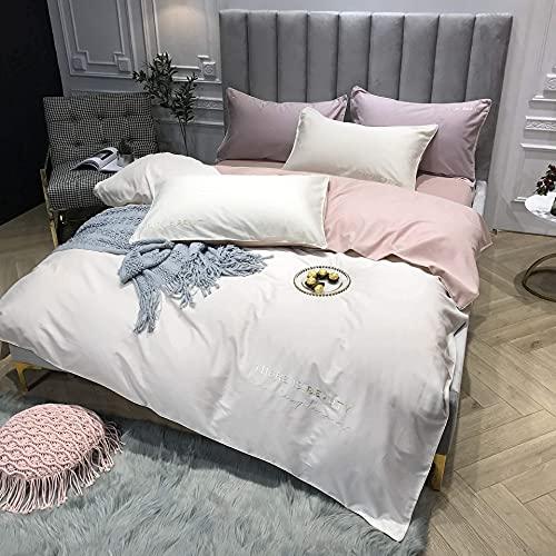 Juego de sábanas bordadas de jacquard de satén de 4 piezas Suave 100% algodón egipcio Calidad de hotel Incluye funda nórdica X1 Fundas de almohada X2 y...