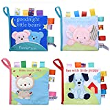 Adpartner Cloth Book for Baby, 4-Pack Soft Activity Crinkle Fabric Books for Infants
