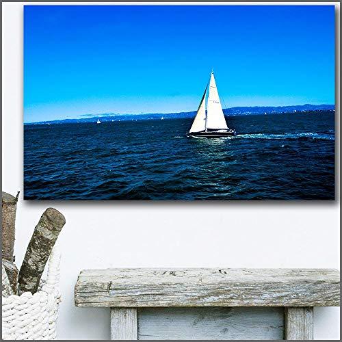 baodanla Großes gedrucktes Ölgemälde-Segelboot, das auf den Seekunst-Leinwanddruckbildern von Wohnzimmer und Schlafzimmer schwimmt60x90cm(Kein Rahmen)
