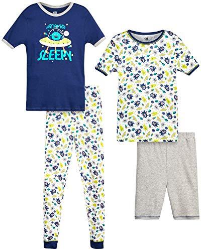 Only Boys Pajamas – 100% Cotton Snug Fit Sleep Shorts, Joggers, and Short Sleeve T-Shirt Pajama Set, Size Small - 6, Blue Alien