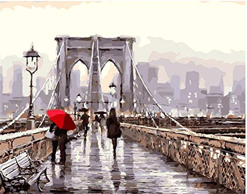 De acuerdo con la pintura digital paisaje de la ciudad pintura sobre lienzo arte callejero bolsa de regalo de bricolaje decoración del hogar -40x50 cm