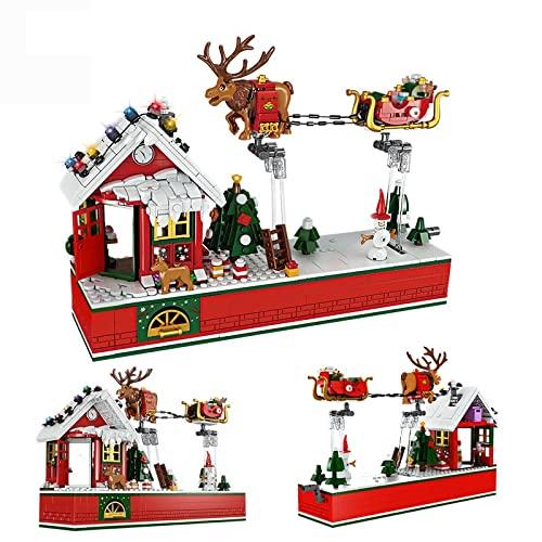 OLOK Juego de construcción de Navidad, 940 piezas, diseño creativo de trineo de alce volador, juego de construcción de Navidad, compatible con Lego