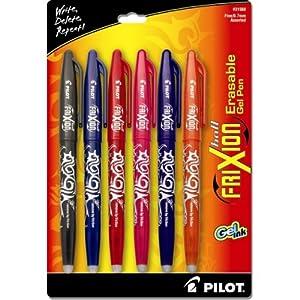 Pilot Frixion – Bolígrafo de tinta borrable, negro, 6 colores