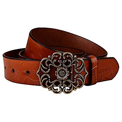 """Normcorer Genuine Leather Belt- Floral Embossed- Hollow-Out Buckle- Western Style For Jeans And Dress - Free Hole Puncher (45.28"""" long, brown)"""