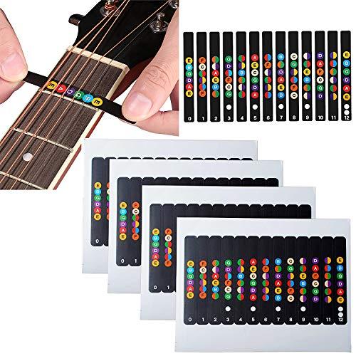 Poweka Gitarre Griffbrett Aufkleber, Noten Lernen für Anfänger, geeignet für elektroakustische Gitarren mit 6 Saiten, schwarz, aus 100% Vinyl Griffbrett (Gitarren Griffbrett mit Karte Schwarz)