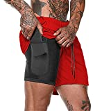 Mens 2 in 1 Workout Running Shorts - Mens Compression Shortsgym Yoga Sport Training Joggers Shorts with Zipper Pockets (Red,XL)