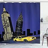 ABAKUHAUS Stadt Duschvorhang, Taxi in New York Amerikanisch, Wasser Blickdicht inkl.12 Ringe Langhaltig Bakterie & Schimmel Resistent, 175 x 200 cm, Violett Blau Gelb Schwarz