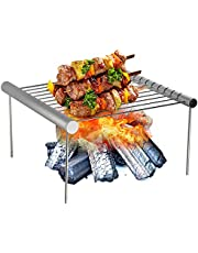 Folding Campfire Grill Non-stick Detachable 304 Stainless Steel Grate Portable Camping Grill with Legs BBQ Tools with Storage Bag for Meats Fish Vegetables Steak