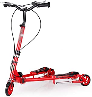 SED Child Sports Kick Scooters Traveling Children's Scooter Over 6 Year Old, Pu Wheel Push Swing Slider Wiggle Trike Striker Drifter Scooter for Kids, Boys Girls Outdoor Mini Balance Car Toy,Red
