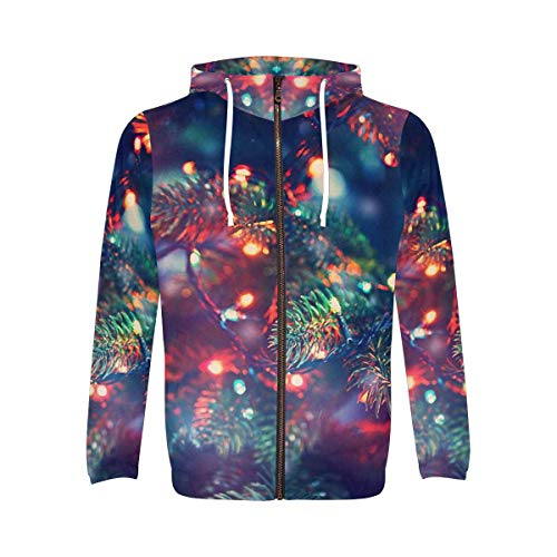 INTERESTPRINT Men's Long Sleeve Hoodie for Running Cycling Gym Christmas Tree with Light S