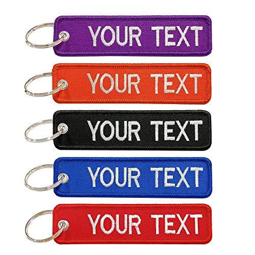 Brillian Portachiavi personalizzato, ricamo personalizzato del testo, grande portachiavi regalo per uomo, portachiavi bifacciale per moto / scooter / auto