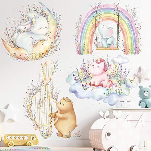 PMSMT Pegatinas para habitación de niños Animales Luna Nube Arco Iris Buenas Noches DIY Etiqueta de la Pared para jardín de Infantes educación temprana decoración para el hogar
