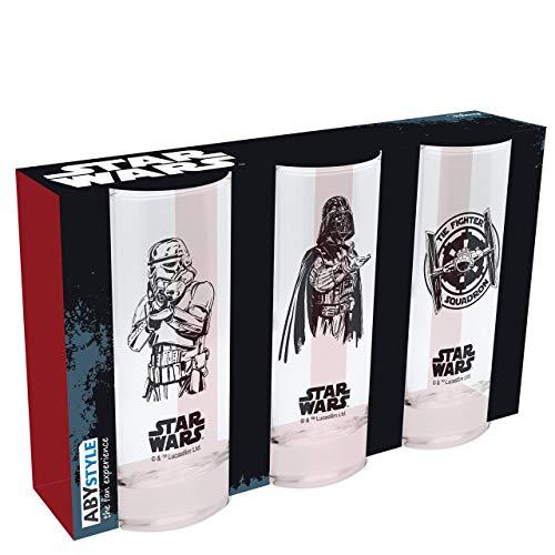 Star Wars - Set de 3 Vasos - Dark Vader, Stormtrooper, Tie Fighter - Merchandising Cine