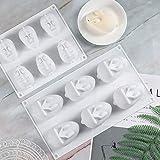 Molde de silicona de 6 agujeros Molde de pastel en forma de conejo 3D Moldes de postre de mousse Molde para hornear para hornear Pastel Jabón Caramelo Chocolate Cupcake Jelly Pan (S)