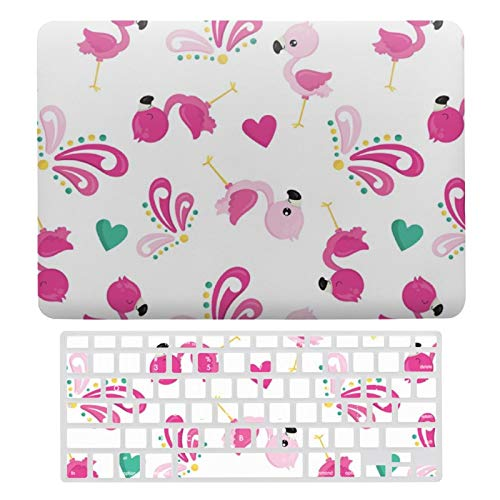 Plastic Hard Shell Case & Keyboard Cover Compatible with MacBook Air 13 (Models: A1466、A1369), Cute Pink Flamingo And Flourish Patterned Laptop Keyboard Membrane Protective Shell Set