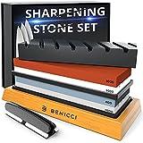 Premium Knife Sharpening Stone Kit - Set Includes 2 Superior Sharpener Whetstones 8000/3000 & 400/1000 Grit, Flattening Stone, Angle Guide & Nonslip Bamboo Base - Sharpens any Knife Razor Sharp
