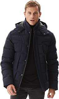 Mens Winter Jacket Thicken Quilted Hooded Short Anorak Parka Padded Coats