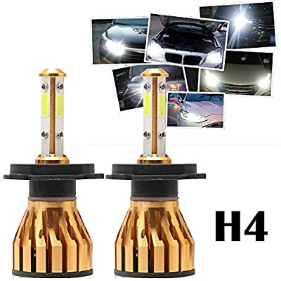 H4 HB2 9003 LED Headlight Bulbs 6500K White 4-side of Super Bright LED Chips High Low Beam 200W 20000LM -2 Year Warranty (2 Pcs)
