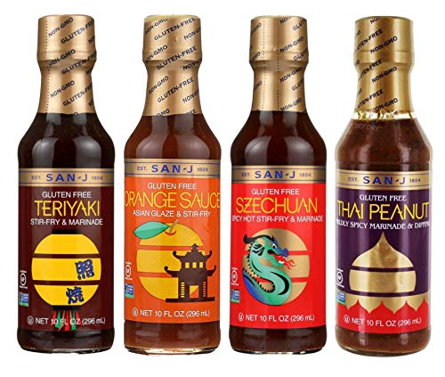 San-J Gluten Free Stir-Fry & Marinade Sauces, Teriyaki, Orange Sauce, Szechuan, and Thai Peanut, One 10oz Bottle of Each (Pack of 4) - with Make Your Day 4-in-1 Measuring Spoon