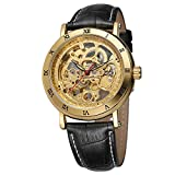FORSINING Men's Trendy Steampunk Automatic Skeleton Analogue Black Leather Wristwatches for Gift