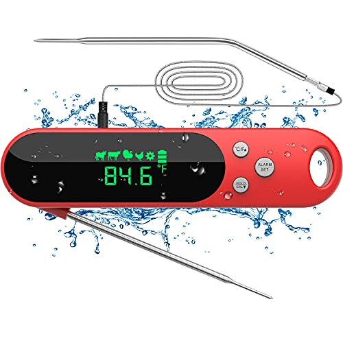 DecorStar Meat Thermometers for Cooking, Dual Probe Digital Instant Read Food Thermometer with Alarm and Calibration Function, Waterproof Cooking Thermometer for Grilling, Baking, BBQ, Candy, Milk