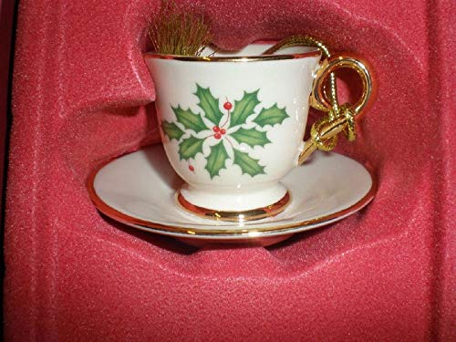 Lenox Holiday Holly Cup & Saucer Ornament
