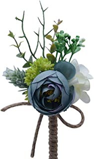 Cupcinu Rose Wedding Corsage for Groom Boutonniere with Pin Handmade Wedding Bouquet Set Perfect for Wedding, Prom, Party 1Pcs(Peacock Blue)