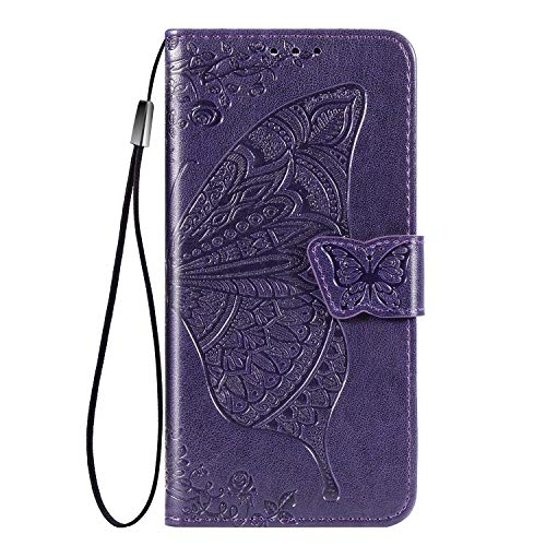 TOPOFU leather Case for Samsung Galaxy Xcover Pro, [Kickstand & Card Slots] Premium PU/TPU Flip Case Magnetic Wallet Book Style Full Protection Case for Samsung Galaxy Xcover Pro(Purple)