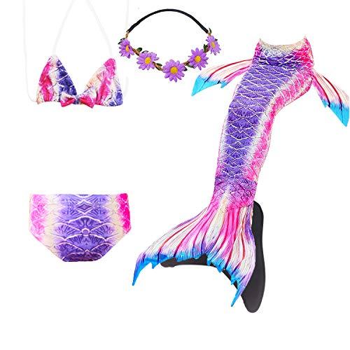 COZY HUT 2019 Kinder Mädchen Meerjungfrauenschwanz Meerjungfrau Flosse Schwimmanzug Badebekleidung 5pcs Bikini Sets,3-12 Jahre alt