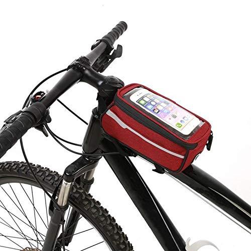 Bicicleta de Silla de Montar, Bolsa de Bicicleta Impermeable Pantalla táctil Ciclismo MTB Monte Bike Frame Bolsa de Almacenamiento de Tubo Delantero for teléfono móvil de 5.5 Pulgadas