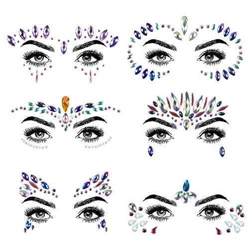 URAQT Gesicht Edelsteine, 6 Stück Strasssteine Gesicht Aufkleber, Selbstklebend Gesicht Strass Temporäre Tattoo, Gesicht Kristall Juwelen für Karneval Schminke Party Make-up