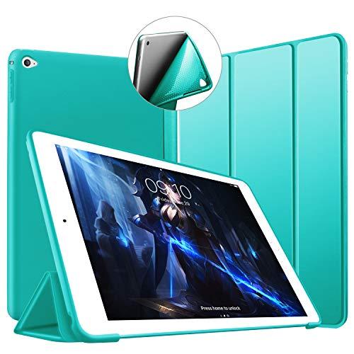 VAGHVEO Funda iPad Air 2, Ligera Silicona Soporte Smart Cover [Auto-Sueño/Estela], Cubierta Trasera de TPU Suave Cáscara para Apple 9.7 Pulgadas iPad Air 2 (Modelo: A1566, A1567), Menta Verde