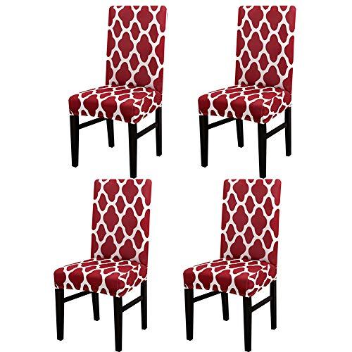 Jian Ya Na Fundas elásticas para silla de comedor, fundas protectoras de licra extraíbles y lavables, para silla (geometría de vino, 4 piezas)