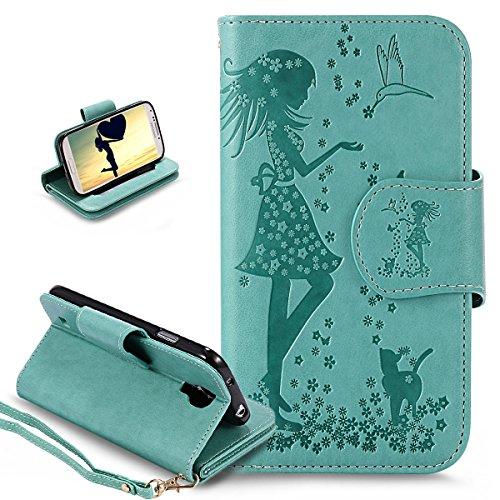 Ikasus Étui portefeuille en cuir PU pour Galaxy S4 i9500 Motif fleurs et oiseaux de chat Vert
