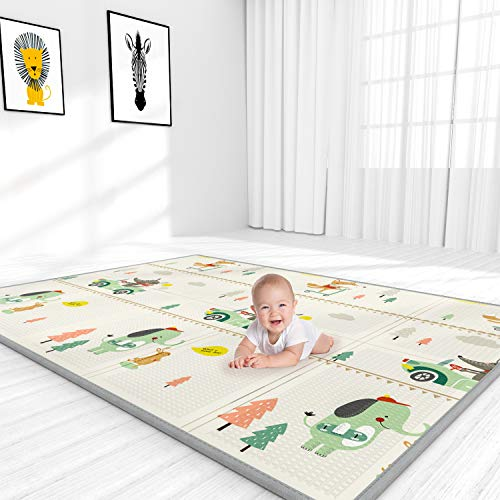 YOOVEE Baby Play Mat, Large Waterproof Baby Crawling Mat, Reversible Mat for Infants Toddler and Kids, Easy to Clean, 76…